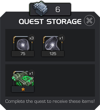 An example of an incomplete quest storage contents