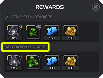 An example of a quest's completion and exploration rewards, with the unfinished exploration rewards highlighted