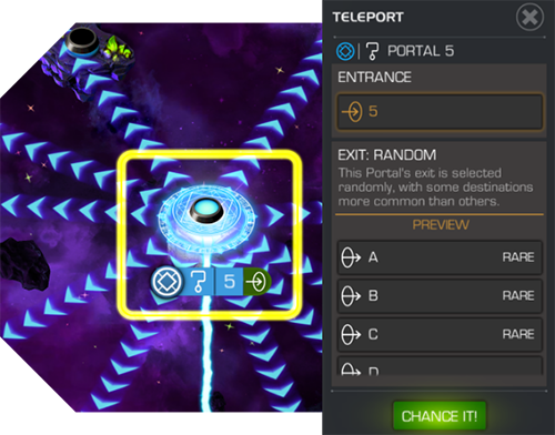 A random portal node displaying its possible destinations, with the green TELEPORT button appearing on the left side of the screen.