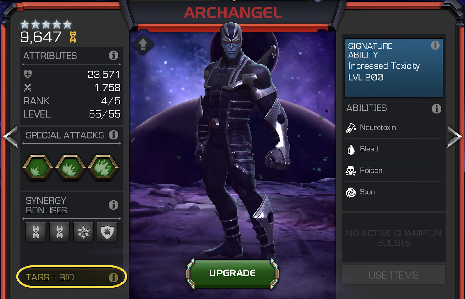 A screenshot of the Champion info page, featuring Archangel.