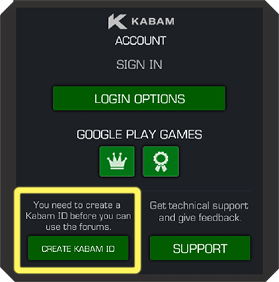 Screenshot of Kabam Account Sign In window with the Create Kabam ID button highlighted