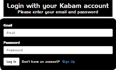Screenshot of the Login button on your Kabam account page