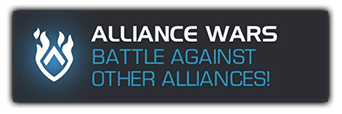 A screenshot of the alliance wars button that says Battle against other alliances!.