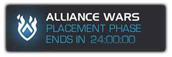 A screenshot of the alliance wars button with a placement phase countdown.