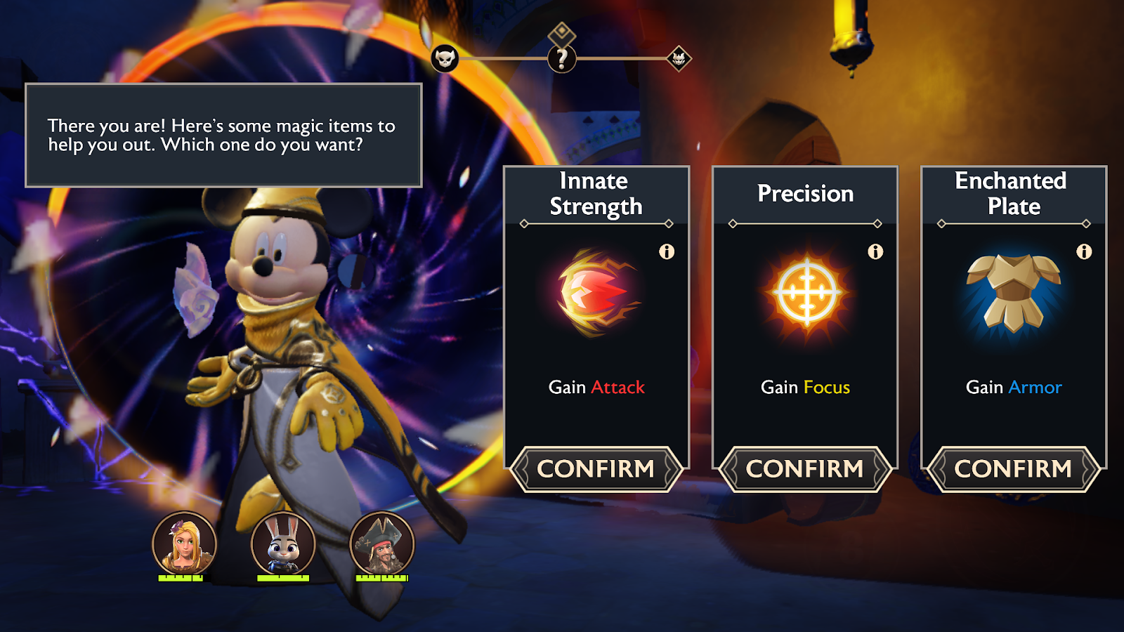 Screenshot of an opportunity window where Mickey will grant you a magic item