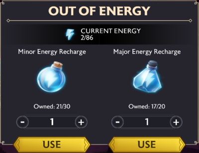 A screenshot of the Out of Energy pop up, with usable Major and Minor Energy Recharges displayed