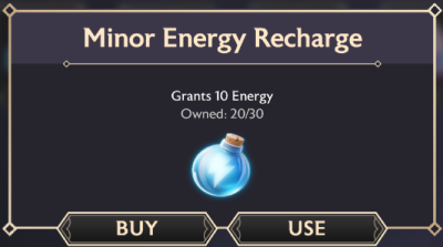 A screenshot of the purchase pop up for Minor Energy Recharges in the inventory