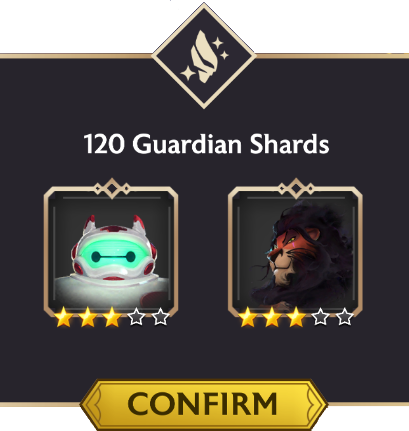A screenshot of the crystal rewards screen with a combined 120 Guardian Shards awarded for a 3-star Baymax and a 3-star Scar.
